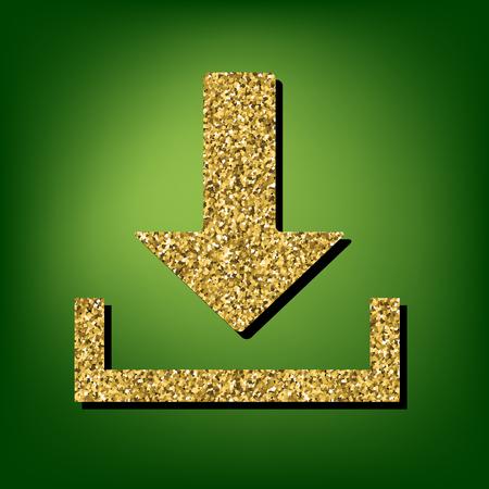 symbole: Download symbole illustration. Golden shiny texture on the green background Illustration