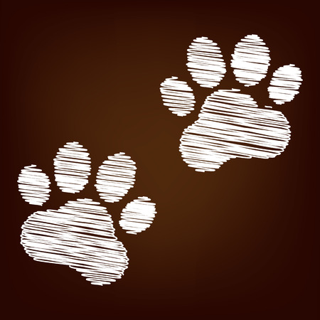 animal tracks: Animal Tracks icon. Vector illustration with chalk effect Vectores