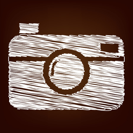 whim of fashion: Digital photo camera icon. Vector illustration with chalk effect Illustration