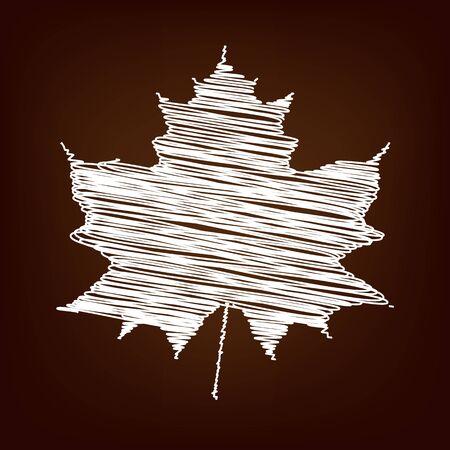 maple leaf icon: Maple leaf icon. Vector illustration with chalk effect Illustration