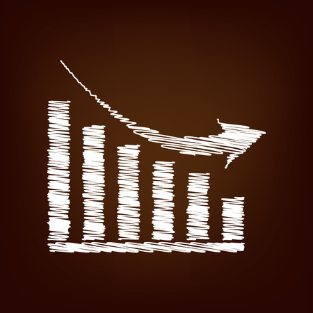 declining: Declining graph icon. Vector illustration with chalk effect Illustration
