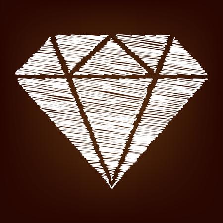 spoil: Diamond icon. Vector illustration with chalk effect Illustration