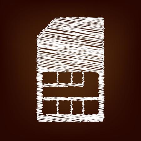 sim card: Sim card icon. Vector illustration with chalk effect