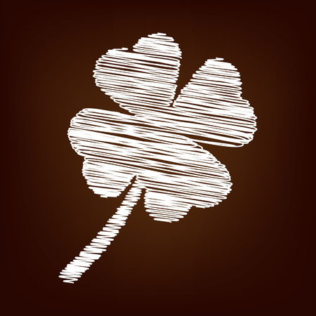 patric icon: Clover leaf  icon. Vector illustration with chalk effect