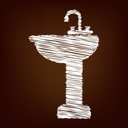 spigot: Bathroom sink icon. Vector illustration with chalk effect Illustration