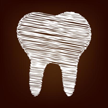 toothcare: Tooth icon. Vector illustration with chalk effect