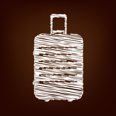 clip art feet: luggage icon. Vector illustration with chalk effect
