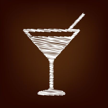 coctail: Coctail icon. Vector illustration with chalk effect