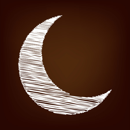 afterglow: Moon icon. Vector illustration with chalk effect