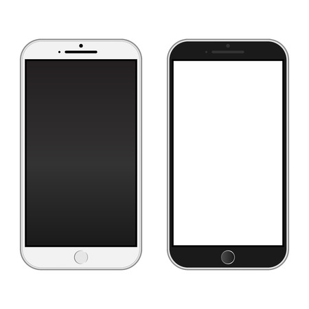 iphon: Smartphone black and white color. Realistic mobile iphon style mockup vector. Can use for printing and website. Illustration