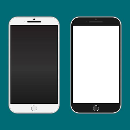 isolates: Smartphone black and white color. Realistic mobile iphon style mockup vector. Can use for printing and website. Illustration