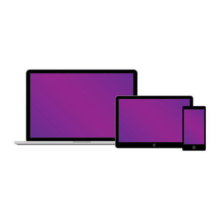 laptop computer: Web design electronic devices on white background. Vector illustration.