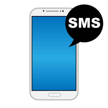 Modern smart phone isolation with SMS icon