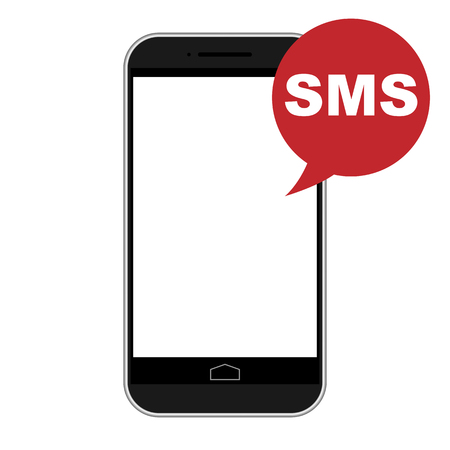 respond: Modern smart phone isolation with SMS icon