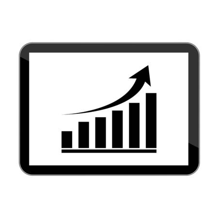 touch sensitive: Vector computer tablet with growing graph icon Illustration