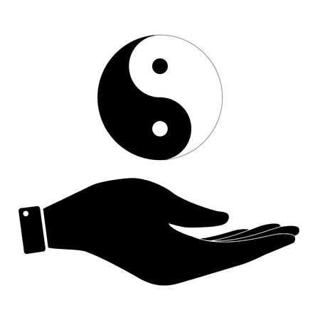 ying yan: Yin and yang in hand icon, care symbol vector illustration. Flat design style Illustration