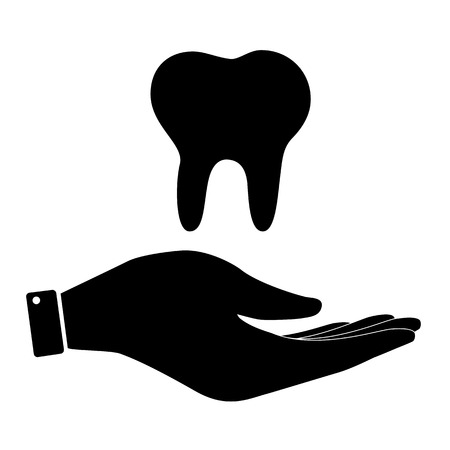 toothcare: Tooth in hand icon, care symbol vector illustration. Flat design style