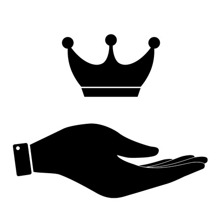 vanity: Crown in hand icon, vanity, power symbol vector illustration. Illustration