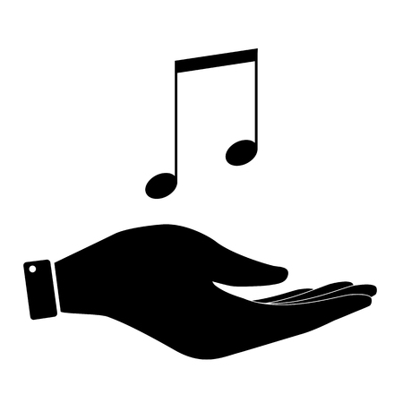 music symbol: Music notes in hand icon, care symbol vector illustration. Flat design style Illustration