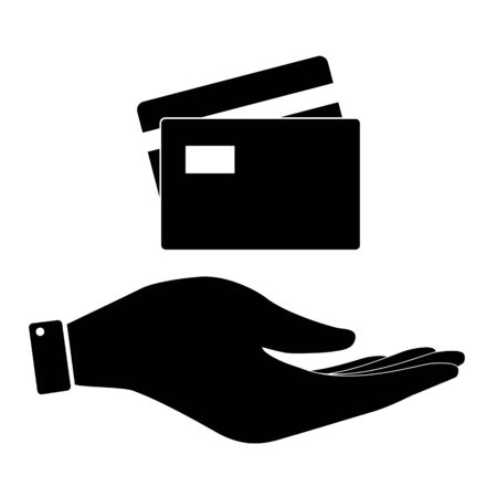 www arm: Card in hand icon, care symbol vector illustration. Flat design style