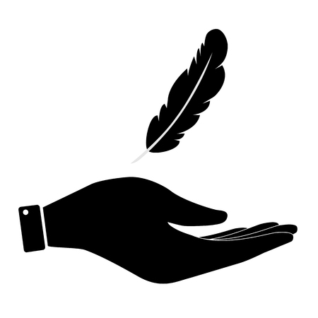 inkstand: Feather in hand icon, care symbol vector illustration. Flat design style Illustration