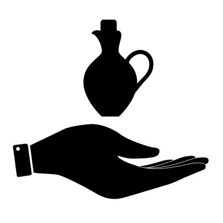 greek pot: Amphora in hand icon, care symbol vector illustration. Flat design style
