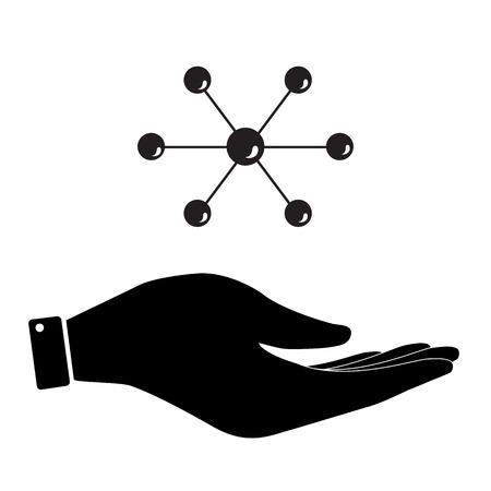 atomic nucleus: Molecule in hand icon, care symbol vector illustration. Flat design style