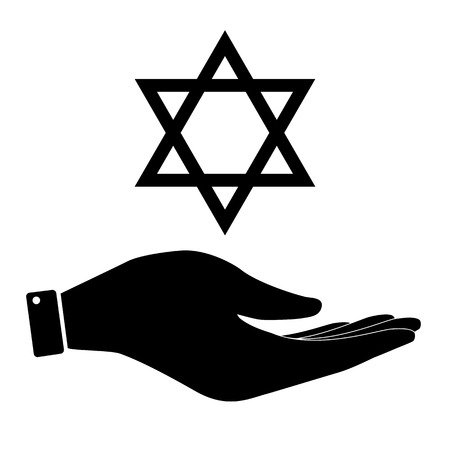 judaica: David star in hand icon, Israel symbol vector illustration. Flat design style