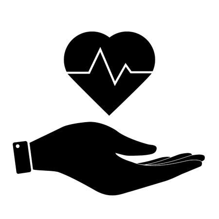 patient chart: Heartbeat in hand icon, care symbol vector illustration. Flat design style Illustration