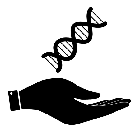 heredity: The dna in hand icon, care symbol vector illustration. Flat design style Illustration