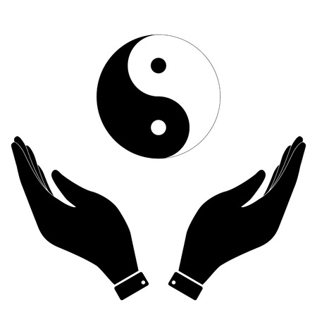 yang style: Yin and yang in hand icon, care symbol vector illustration. Flat design style Illustration