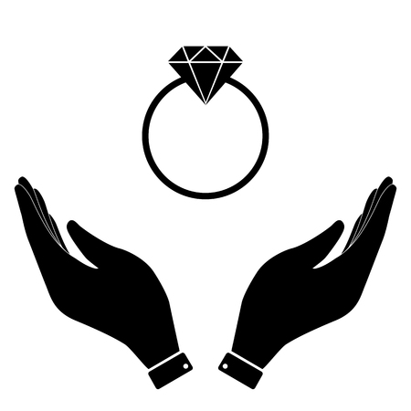 karat: Diamond ring in hand icon, care symbol vector illustration. Flat design style Illustration