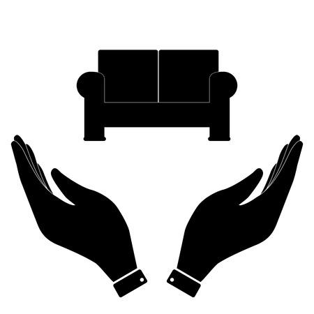 www arm: Sofa in hand icon, care symbol vector illustration. Flat design style