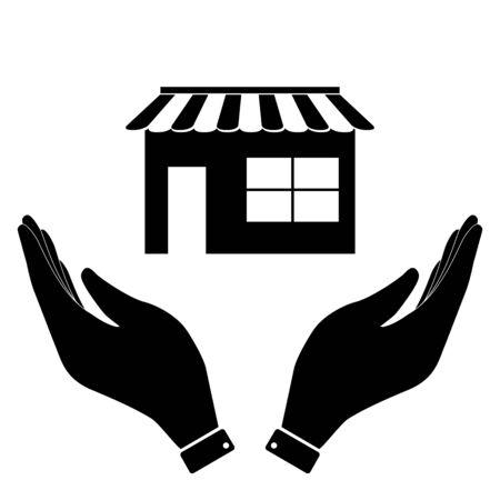 urbanization: Shop in hand icon, care symbol vector illustration. Flat design style Illustration