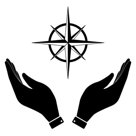 rosa vientos: Rosa de los vientos en el icono de la mano, ilustración vectorial símbolo de la atención. estilo de diseño plano