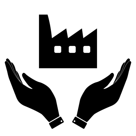 distillery: Factory in hand icon, care symbol vector illustration. Flat design style