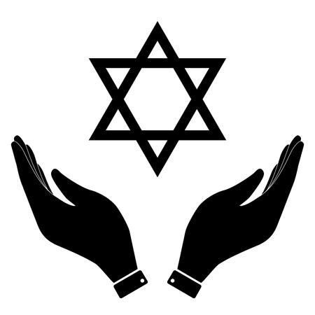 hanuka: David star in hand icon, Israel symbol vector illustration. Flat design style
