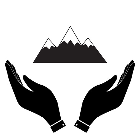winter range: Mountain in hand icon, care symbol vector illustration. Flat design style Illustration