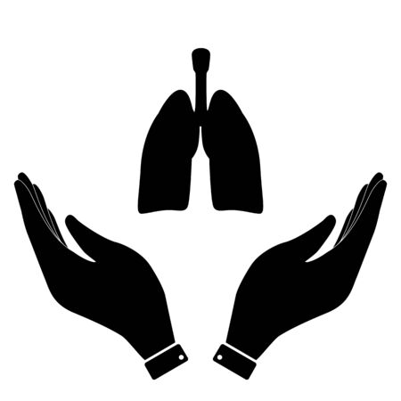 screening: Lungs in hand icon, care symbol vector illustration. Flat design style