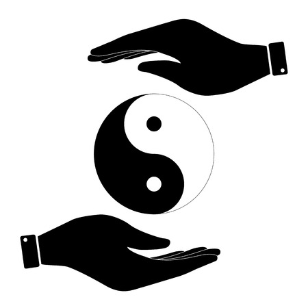 Yin and yang in hand icon, care symbol vector illustration. Flat design style Stock Illustratie