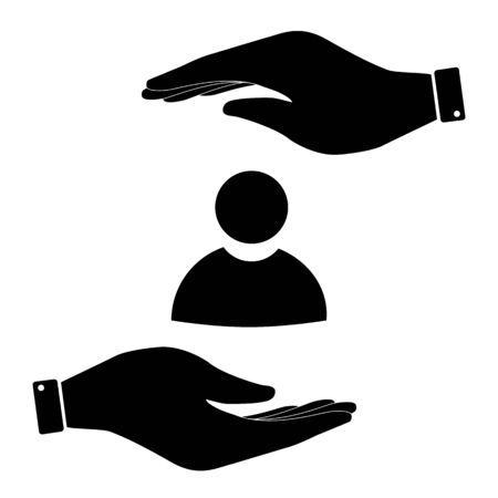 sign in: User sign in hand icon, care symbol vector illustration. Flat design style Illustration