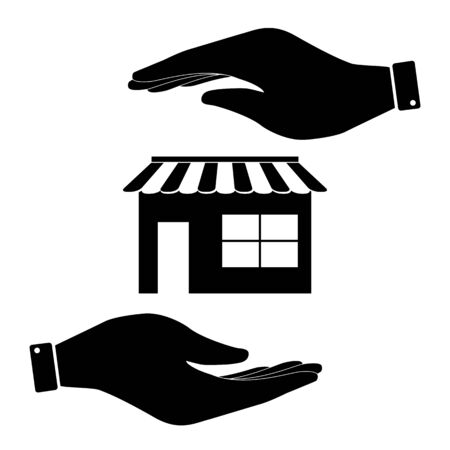 urbanization: Shop in hand icon, care symbol vector illustration. Flat design style Illustration