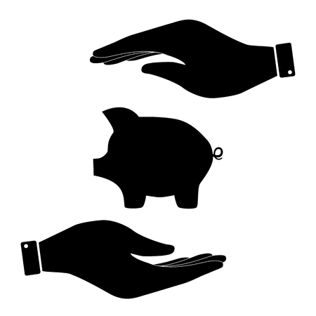 moneyed: Pig sign in hand icon, finance care symbol vector illustration. Flat design style
