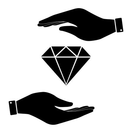 spoil: Diamond in hand icon, care symbol vector illustration. Flat design style