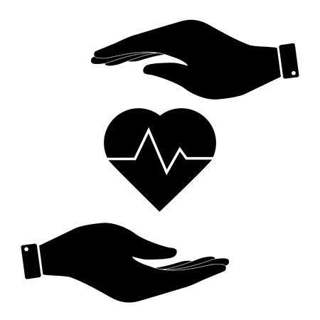 cardiograph: Heartbeat in hand icon, care symbol vector illustration. Flat design style Illustration