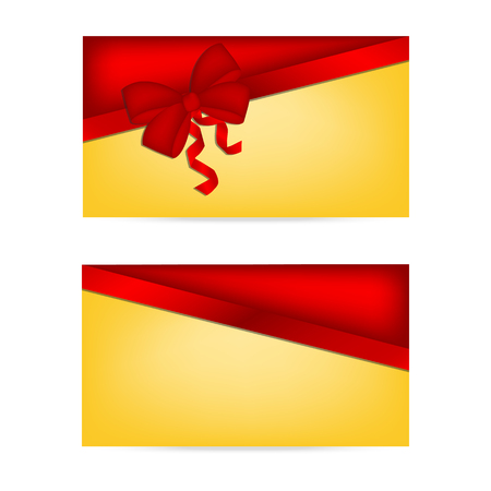 discount card: Gift cards with ribbons. Invitation card. Discount card, Vector background