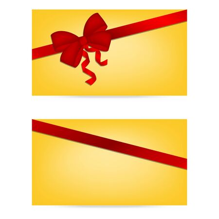 Gift cards with ribbons. Invitation card. Discount card, Vector background Фото со стока - 50792520