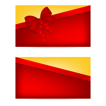 annotation: Gift cards with ribbons. Invitation card. Discount card, Vector background