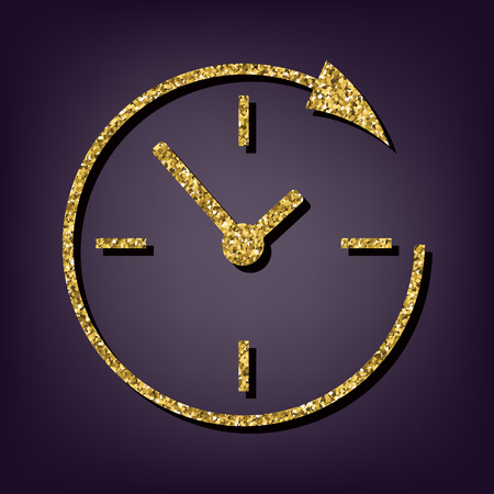 around the clock: Service and support for customers around the clock and 24 hours. Golden icon
