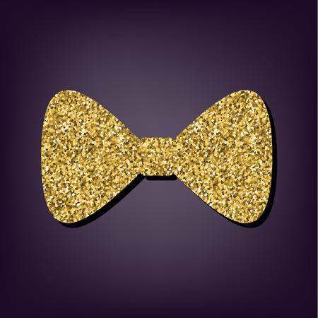 black bow: Vector Black Bow Tie  illustration. Golden icon